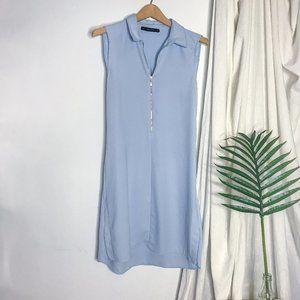 Zara Basic Blue Zip Front Shift Mini Dress Polo